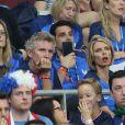 Denis Brogniart, Sylvie Tellier - People au match de la finale de l'Euro 2016 Portugal-France au Stade de France à Saint-Denis le 10 juillet 2016. © Cyril Moreau / Bestimage