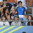 Mick Jagger et son fils Lucas - People au match de la finale de l'Euro 2016 Portugal-France au Stade de France à Saint-Denis le 10 juillet 2016. © Cyril Moreau / Bestimage