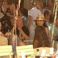 Rupert Murdoch déjeunant avec sa femme Jerry Hall, son ex-femme Wendi Deng et sa fille Chloe Murdoch, pour son anniversaire, au club 55 à Saint-Tropez, France, le 17 juillet 2016.