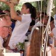Rupert Murdoch va déjeuner avec sa femme Jerry Hall, son ex-femme Wendi Deng et sa fille Chloe Murdoch, pour son anniversaire, au club 55 à Saint-Tropez, France, le 17 juillet 2016.