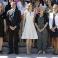 La reine Letizia d'Espagne présidait le 26 juillet 2016 au Parque del Retiro à Madrid la cérémonie des 25e Prix FEDEPE en l'honneur des femmes dirigeantes, chefs d'entreprise et professionnelles.