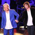 Patrick Sébastien et son fils Olivier Villa - Patrick Sébastien fête ses 40 ans de scène à l'Olympia à Paris, le 14 novembre 2014.