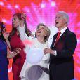 Chelsea, Hillary et Bill Clinton - Convention démocrate à Philadelphie, le 28 jullet 2016.