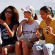 Flora Coquerel (miss France 2014), Laury Thilleman (miss France 2011) et Chloé Mortaud (miss France 2009) à la Summer Cup 2016 à La Baule le 8 juillet 2016. La Summer Cup 2016, 6ème édition, est l'un des plus grands rassemblement de stand-Up Paddle d'Europe. © Laetitia Notarianni / Bestimage