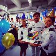 Fernando Alonso fêtant son 35e anniversaire (29 juillet 2016) lors du Grand Prix d'Allemagne. Photo Instagram.