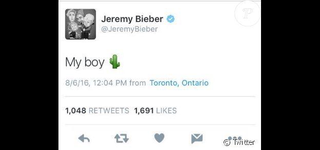 Jeremy Bieber s'amuse de la taille du sexe de son fils Justin. Twitter, août 2016