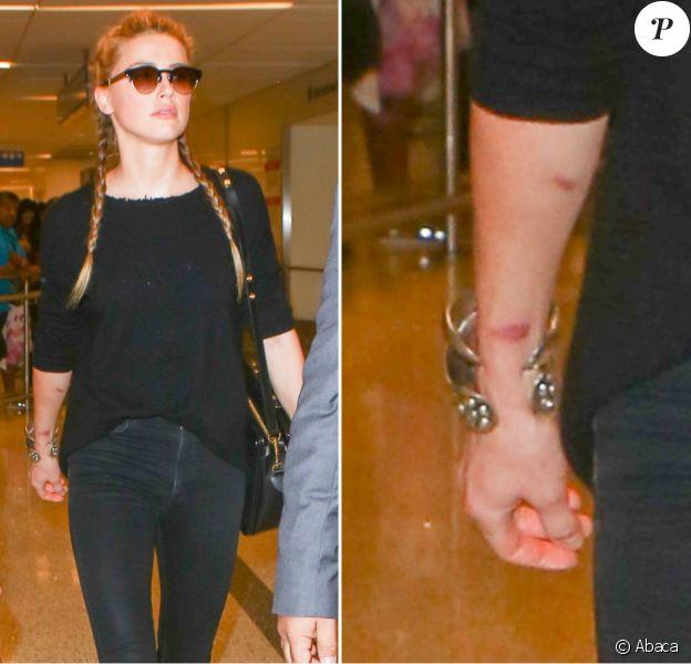 Amber Heard lors de son arrivée à l'aéroport de Los Angeles le 12 août 2016