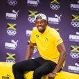 Usain Bolt lors d'une conférence de presse pendant les Jeux Olympiques (JO) de Rio 2016, à Rio de Janeiro, le 8 août 2016.  Usain Bolt at a press conference during Rio 2016 Olympic Games, on August 8, 2016.08/08/2016 - Rio de Janeiro