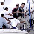 Exclusif - Johnny Depp arrive en vacances à Ibiza à bord du yacht Prince Abdulaziz pour rejoindre la villa qu'il a louée pour son séjour le 7 août 2016.