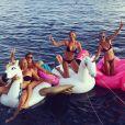 Estelle Lefébure, Laeticia Hallyday et leurs amies en vacances à Saint-Barthélemy, le 23 août 2016.
