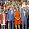 Le roi Willem-Alexander et la reine Maxima des Pays-Bas ont reçu le 24 août 2016 les médaillés olympiques néerlandais des JO de Rio au palais Noordeinde à La Haye. Leur bilan s'élève à 19 médailles, dont huit en or.