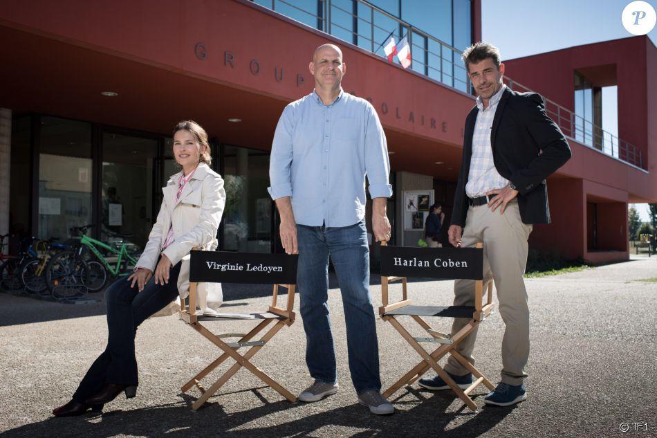 Image du tournage de la série Juste un regard, avec Virginie Ledoyen, Harlan Coben et Thierry Neuvic.