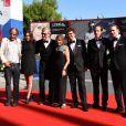 """Wim Wenders, Sophie Semin, Reda Kated et guest à la première de """"Les Beaux Jours d'Aranjuez"""" au 73ème Festival du Film de Venise. Italie, le 1er septembre 2016."""