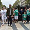 """Exclusif - Cristina Cordula et Vincent Cassel lors du """"Lavage de la Madeleine"""" à Paris, le 4 septembre 2016"""
