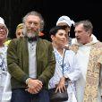 """Exclusif - Vincent Cassel et Cristina Cordula lors du """"Lavage de la Madeleine"""" à Paris, le 4 septembre 2016"""