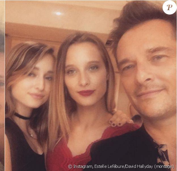 Estelle Lefébure et David Hallyday, ainsi que leur fille aînée Ilona Smet, réunis à Londres pour les 19 ans d'Emma Smet, le 13 septembre 2016.
