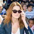 Carla Bruni-Sarkozy - Présentation du programme pédagogiques de la Fondation M. Fontenoy à l'école Gustave Rouanet à Paris, le 22 juin 2016