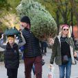 Liev Schreiber et Naomi Watts en compagnie de leurs deux fils et de leur chien ont acheté un sapin de noël New York, Le 27 Novembre 2015
