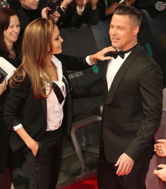 Brad Pitt et Angelina Jolie au BAFTA Awards à Londres. Le 16 février 2014