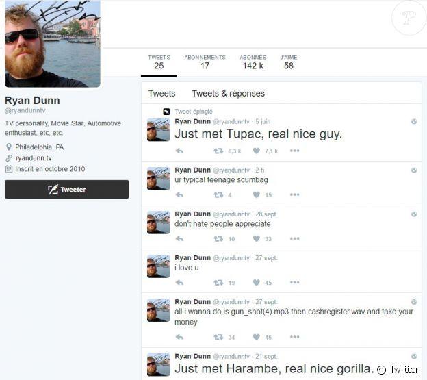 Capture d'écran du compte Twitter de Ryan Dunn