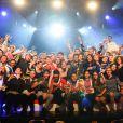 Exclusif - Jamel Debbouze et Marc Ladreit de Lacharrière entourés des participants lors de la finale de l'Euro de l'impro Culture & diversité au théâtre le Comédia à Paris le 10 juillet 2016. © Coadic Guirec/Bestimage
