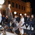 """Kim, Kourtney Kardashian, leur mère Kris Jenner et son compagnon Corey Gamble au défilé de mode """"Givenchy"""", collection prêt-à-porter printemps-été 2017 à Paris, le 2 octobre 2016. © Olivier Borde/Bestimage"""