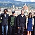 Omar Sy, Irrfan Khan, Ron Howard, Tom Hanks, Felicity Jones et Dan Brown lors du photocall du film Inferno à Florence le 7 octobre 2016