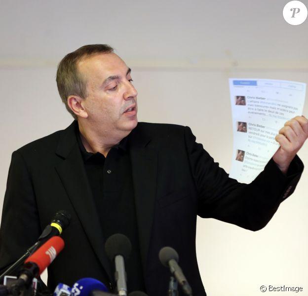 L'animateur Jean-Marc Morandini fait une déclaration à la presse dans un salon de l'hôtel Radisson à Boulogne-Billancourt, le 19 juillet 2016