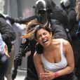Priyanka Chopra tourne une scène d'action violente pour la série Quantico à Manhattan le 4 octobre 2016.