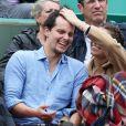 Laury Thilleman et son compagnon Juan Arbelaez - People dans les tribunes lors du Tournoi de Roland-Garros (les Internationaux de France de tennis) à Paris, le 29 mai 2016. © Dominique Jacovides/Bestimage
