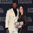 Djibril Cissé et sa compagne Marie-Cécile Lenzini lors de la cérémonie des Sportel Awards au Grimaldi Forum à Monaco, le 25 octobre 2016. © Bruno Bebert/Bestimage