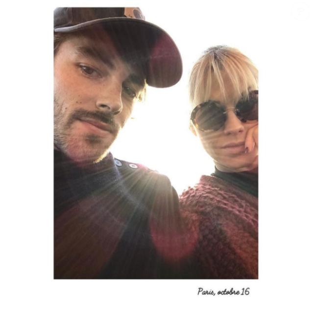 Katrina Patchett et Valentin D'Hoore, amoureux, le 30 octobre 2016 à Paris.