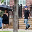 Exclusif - Blac Chyna enceinte et son fiancé Rob Kardashian sur le tournage de leur téléréalité à Washington le 4 juillet 2016. Le couple a passé la journée à visiter la Washington High School