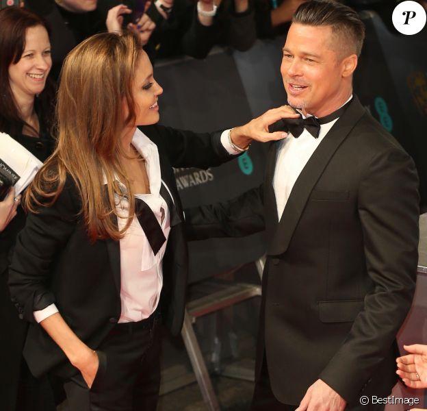 Brad Pitt et Angelina Jolie au BAFTA Awards à Londres. Le 16 février 2014 B