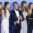 Sylvester Stallone, sa femme Jennifer Flavin et leurs filles Sophia, Sistine et Scarlet - Press Room lors de la 73e cérémonie annuelle des Golden Globe Awards à Beverly Hills, le 10 janvier 2016. © Olivier Borde/Bestimage