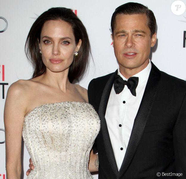 """Angelina Jolie et son mari Brad Pitt - Première de """"By the Sea"""" à Los Angeles le 5 novembre 2015. © CPA/Bestimage 05/11/2015 - Los Angeles"""