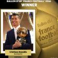 Cristiano Ronaldo sacré Ballon d'or par France Football pour la quatrième fois le 12 décembre 2016.