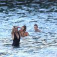 Exclusif - Sharon Stone et son nouveau compagnon Lonnie Cooper (un agent sportif) se baignent sur une plage de Saint-Barthélemy le 29 novembre 2016.