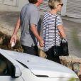 Exclusif - Sharon Stone et son nouveau compagnon Lonnie Cooper (agent sportif) en vacances à Saint-Barthélemy le 1er décembre 2016. Au programme, détente et farniente sur une plage puis déjeuner dans un restaurant avant une virée shopping dans les rues de Gustavia. Le couple s'est également rendu aux urgences de l'hôpital de Saint-Barthélemy pour soigner le doigt de Lonnie.