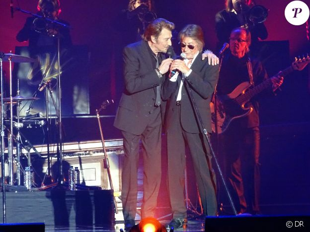 """Johnny Hallyday et Jacques Dutronc - Premier concert """"Les Vieilles Canailles"""" à Paris, du 5 au 10 novembre 2014."""