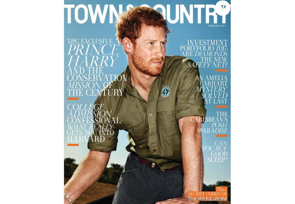 Le prince Harry en couverture du numéro de février 2017 de Town & Country, illustré par des photos de sa mission au Malawi à l'été 2016, où il a participé au déplacement de plus de 200 éléphants entre deux réserves pour contribuer à la survie de l'espèce.