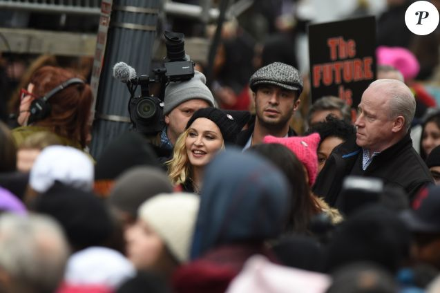 Madonna lors de la manifestation anti-Trump à Washington le 21 janvier 2017.
