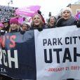 Jennifer Beals, Chelsea Handler, Mary McCormack et Charlize Theron - Les célébrités participent à la 'marche des femmes' contre Trump lors du Festival du Film Sundance à Park City en Utah, le 21 janvier 2017