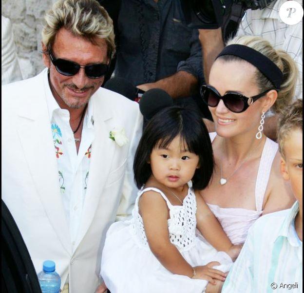 La famille Hallyday Johnny,Laeticia et la petite Jade