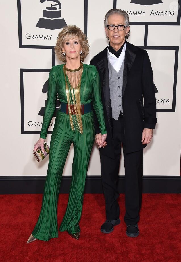 Jane Fonda et son compagnon Richard Perry - 57ème soirée annuelle des Grammy Awards au Staples Center à Los Angeles, le 8 février 2015.