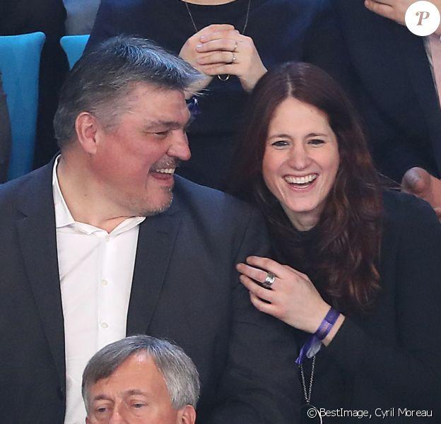 David Douillet et Vanessa Carrara le 29 janvier 2017 à l'AccorHotels Arena de Paris lors de la finale du Mondial 2017 de handball remportée par la France face à la Norvège. Le couple a eu une petite fille prénommée Blanche le 17 septembre 2016. © Cyril Moreau/Bestimage
