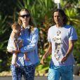 Exclusif - Gemma Ward, son compagnon David Letts et leur fille Naia à Sydney, le 10 décembre 2014.
