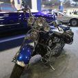 """Une Cadillac et une Harley Davidson de Johnny Hallyday sont exposés au salon international des voitures de collection """"Retromobile 2017"""" à la porte de Versailles à Paris, le 9 février 2017. © CVS/Bestimage"""