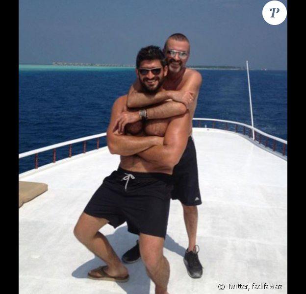 Fadi Fawaz et son amoureux George Michael en vacances - Photo datée du mois de février 2016