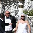 Exclusif - Jour 3 - Arrivée de Cyril Hanouna en robe de mariée, accompagné de Moktar Guetari, à la Little white wedding chapel à Las Vegas le 2 avril 2016.  Dominique Jacovides/Bestimage
